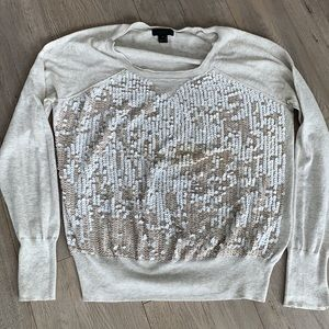 J Crew Collection Cotton Sequin Beige Sweater M